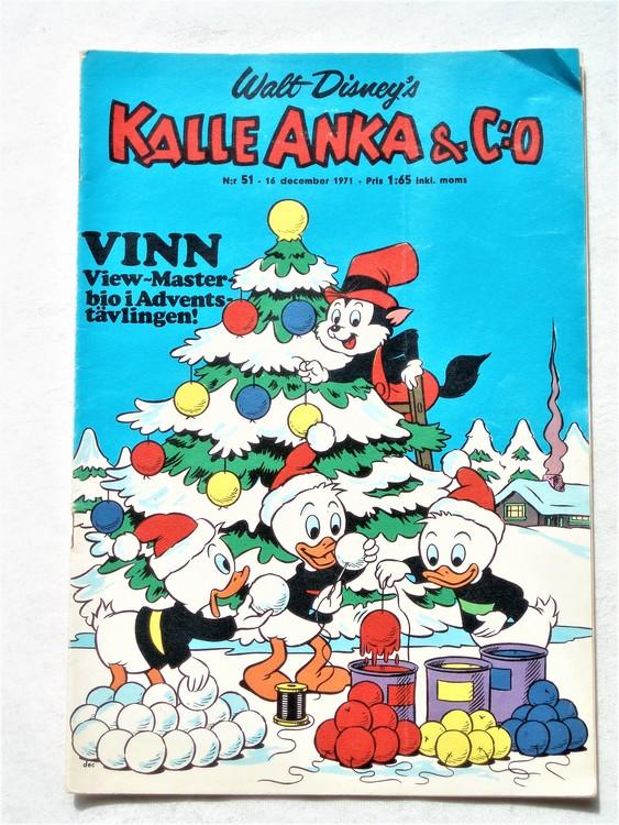 Kalle Anka & Co nr 51 1971 mer slitet än normalt,adressetikett