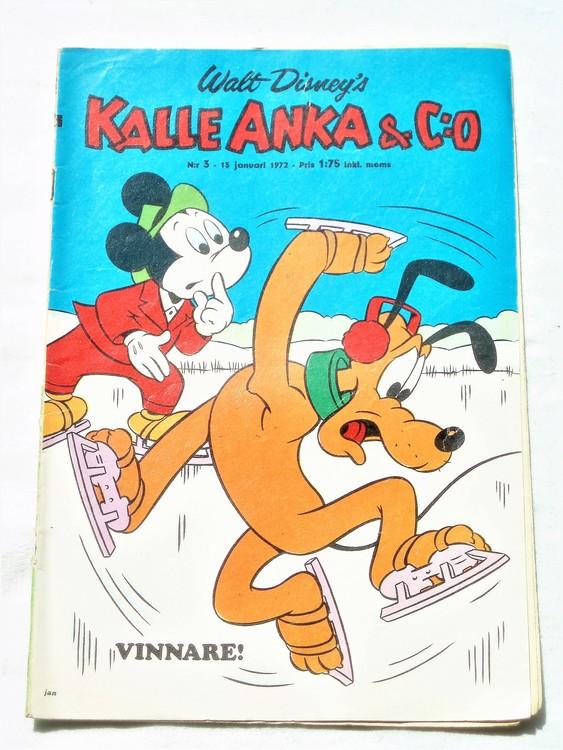 Kalle Anka&Co nr3 1972 mycket bra skick,adressetikett baksida,rygg lite sliten