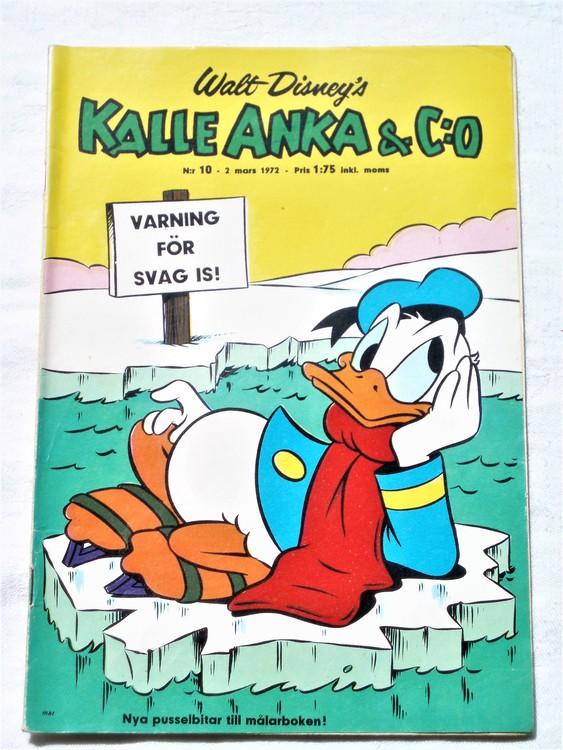 Kalle Anka&Co nr10 1972 mycket bra skick,adressetikett baksida,rygg lite sliten.