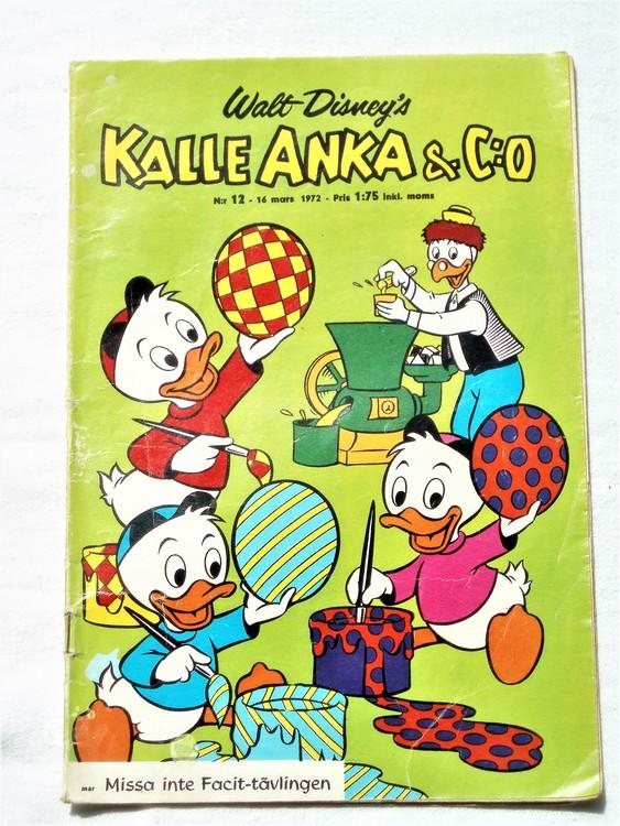 Kalle Anka&Co nr12 1972 bra skick,adressetikett baksida,rygg lite sliten.
