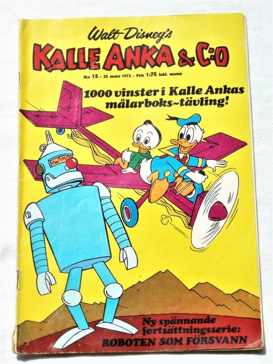 Kalle Anka&Co nr13 1972 bra skick,adressetikett baksida,rygg lite sliten.