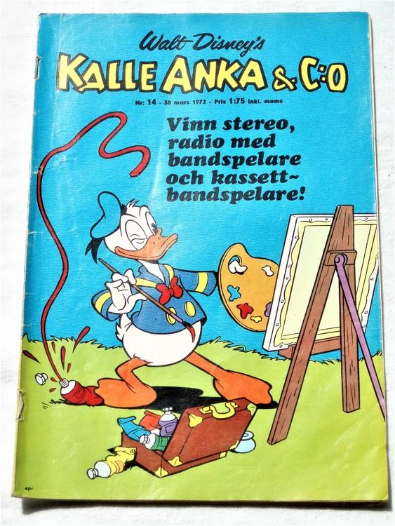 Kalle Anka&Co nr14 1972 bra skick,adressetikett baksida,rygg lite sliten.