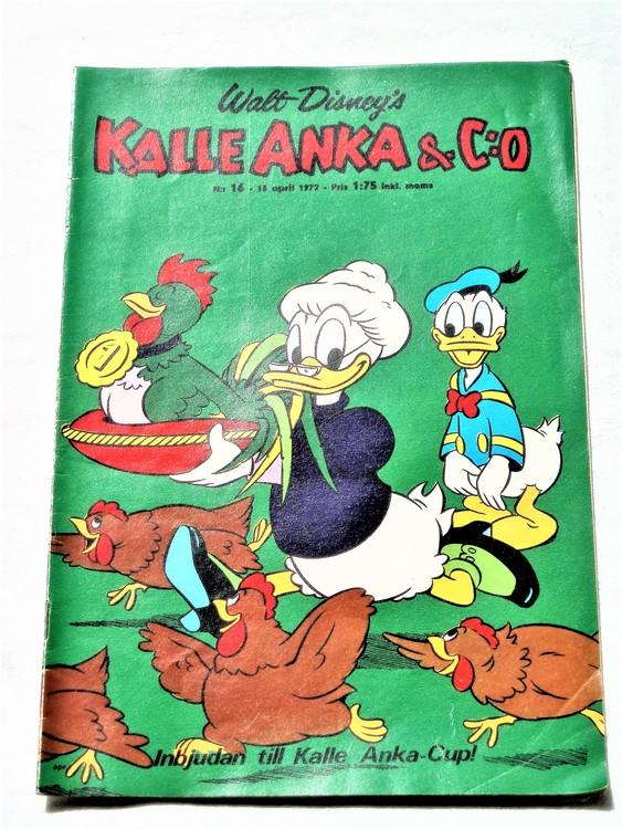 Kalle Anka&Co nr16 1972 mycket bra skick,adressetikett baksida,rygg lite sliten.