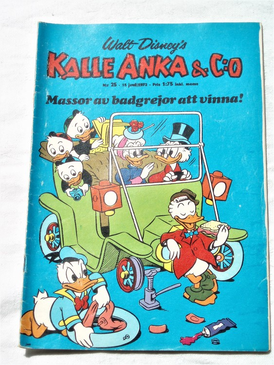 Kalle Anka&Co nr25 1972 bra skick,adressetikett baksida,rygg sliten.