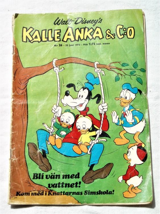 Kalle Anka&Co nr26 1972 bra skick,adressetikett baksida,rygg sliten.
