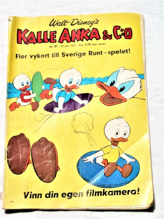 Kalle Anka&Co nr31 1972 bra skick,adressetikett baksida,rygg lite sliten.