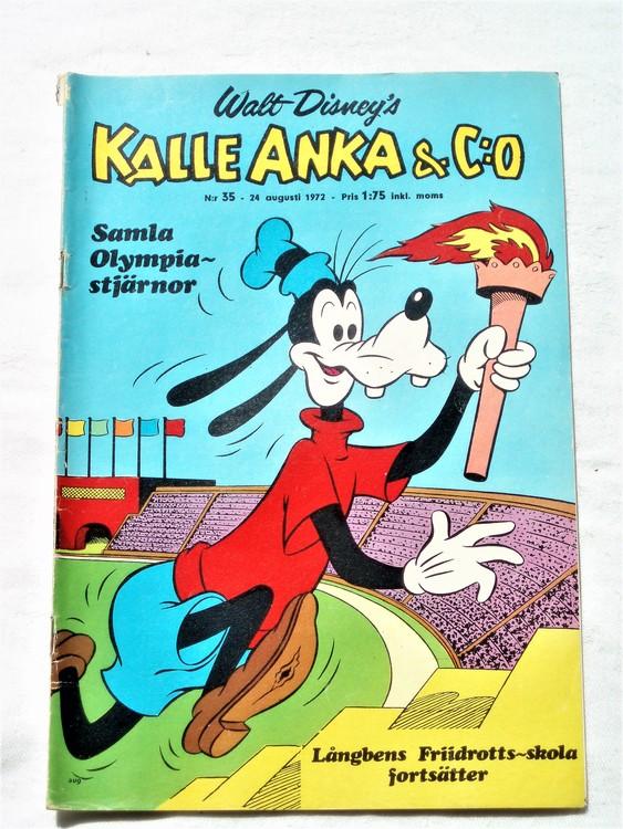 Kalle Anka&Co nr35 1972 bättre skick,adressetikett baksida,rygg lite sliten.