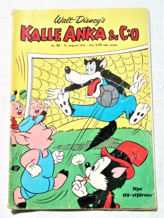 Kalle Anka&Co nr36 1972 bättre skick,adressetikett baksida,rygg lite sliten.
