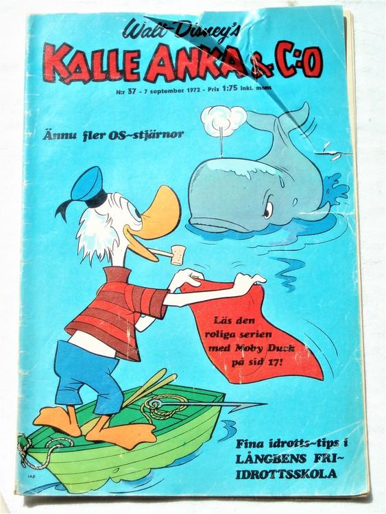 Kalle Anka&Co nr37 1972 bra skick,adressetikett baksida,rygg lite sliten.