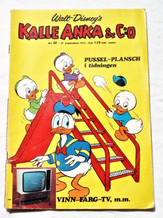 Kalle Anka&Co nr39 1972 sämre skick,adressetikett baksida,rygg sliten.