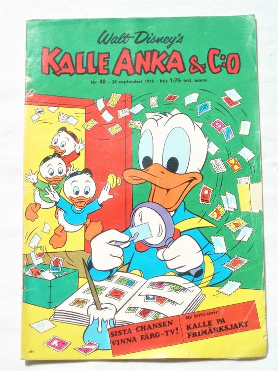 Kalle Anka&Co nr40 1972 bättre skick,adressetikett baksida,rygg lite sliten.