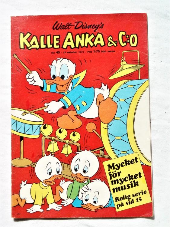 Kalle Anka&Co nr43 1972 bättre skick,adressetikett baksida,rygg lite sliten.