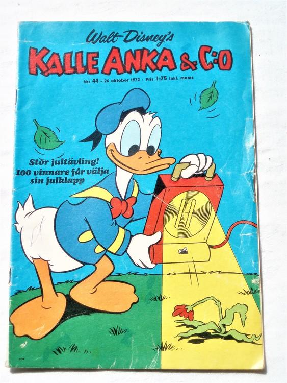 Kalle Anka&Co nr44 1972 bättre skick,adressetikett baksida,rygg lite sliten.