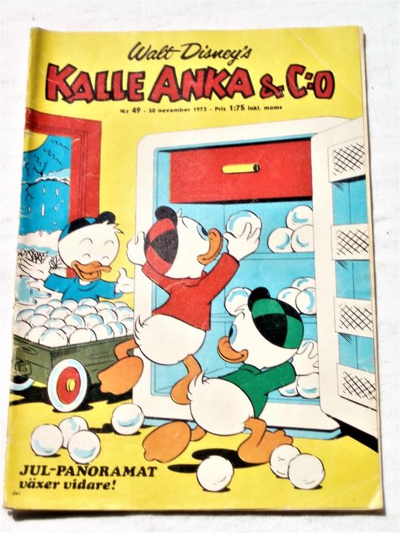 Kalle Anka&Co nr49 1972 bättre skick,adressetikett baksida,rygg lite sliten.