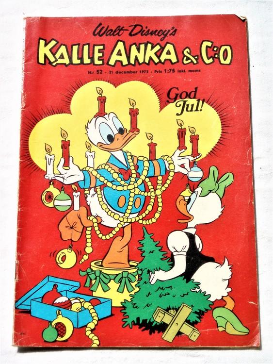 Kalle Anka&Co nr52 1972 bättre skick,adressetikett baksida,rygg lite sliten.