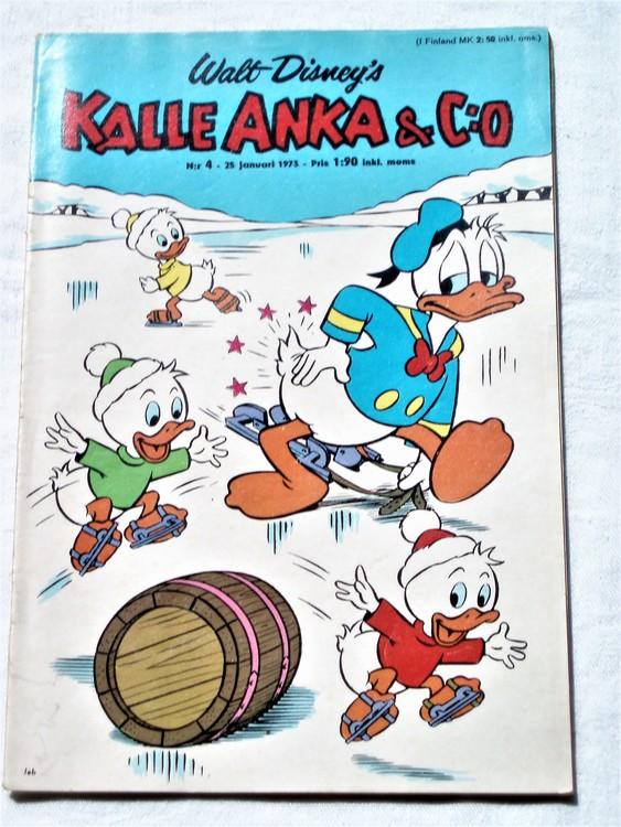 Kalle Anka&Co nr4 1973 bra skick,adressetikett baksida,rygg sliten.