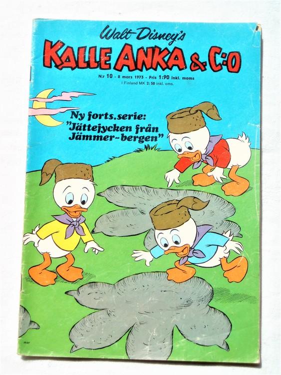 Kalle Anka&Co nr10 1973 bra skick,adressetikett baksida,rygg sliten.