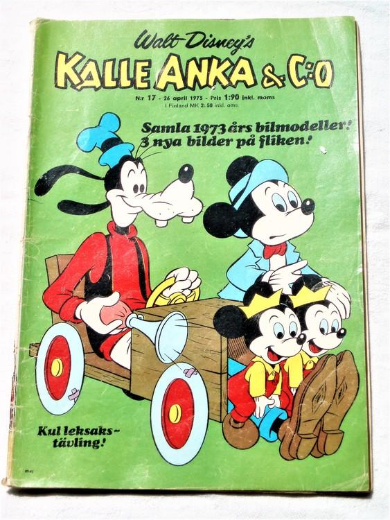 Kalle Anka&Co nr17 1973 bra skick,adressetikett baksida,rygg sliten.
