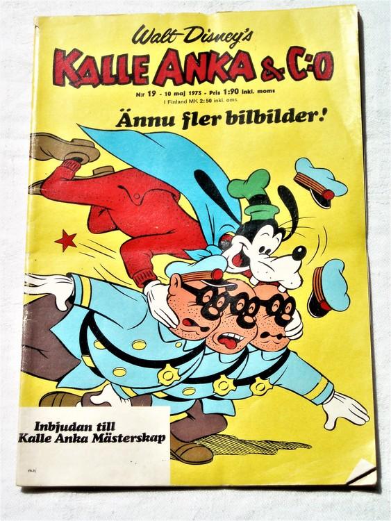 Kalle Anka&Co nr19 1973 bra skick,adressetikett baksida,rygg lite sliten.