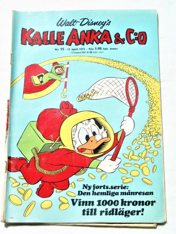 Kalle Anka&Co nr15 1973 bra skick,adressetikett baksida,rygg sliten.