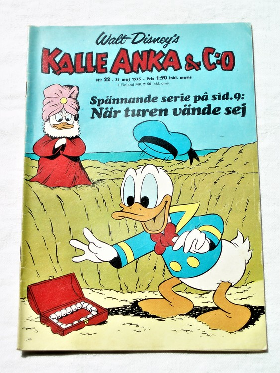 Kalle Anka&Co nr22 1973 bra skick,adressetikett baksida,rygg lite sliten.