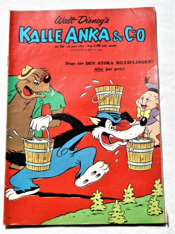 Kalle Anka&Co nr26 1973 bra skick,adressetikett baksida,rygg lite sliten.