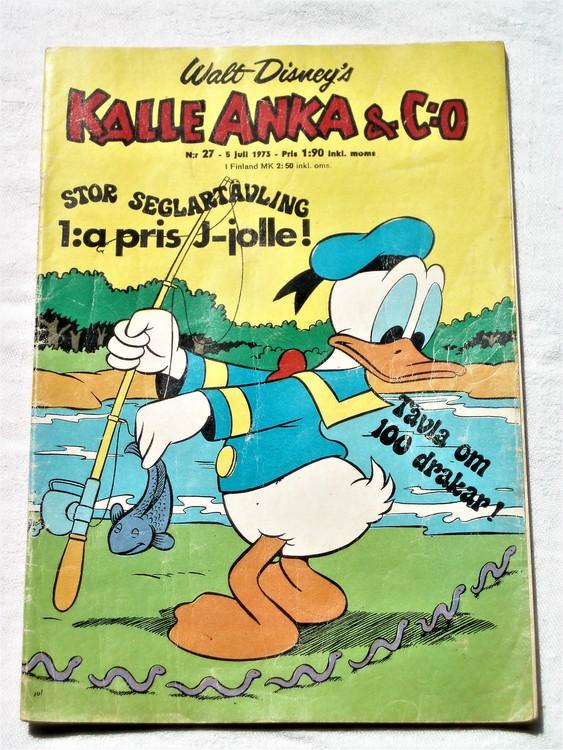 Kalle Anka&Co nr27 1973 bra skick,adressetikett baksida,rygg lite sliten.