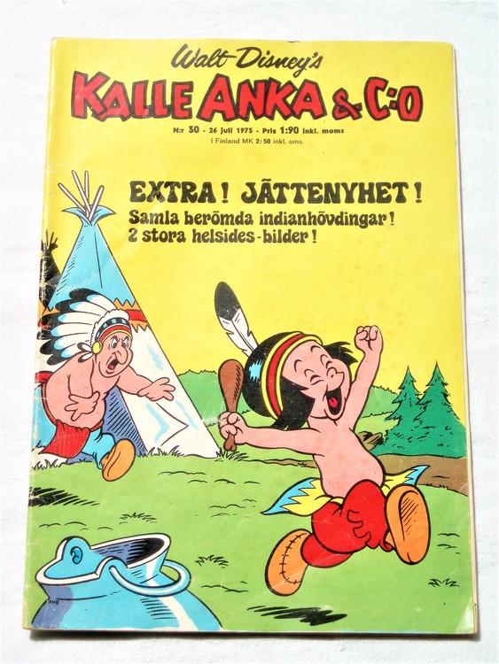 Kalle Anka&Co nr30 1973 bra skick,adressetikett baksida,rygg lite sliten.