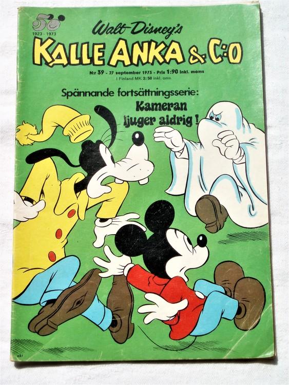 Kalle Anka&Co nr39 1973 bra skick,adressetikett baksida,rygg lite sliten.