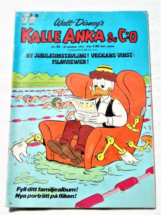 Kalle Anka&Co nr43 1973 bra skick,adressetikett baksida,rygg lite sliten.