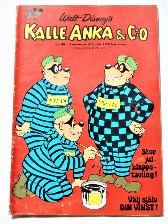 Kalle Anka&Co nr46 1973 bra skick,adressetikett baksida,rygg lite sliten.