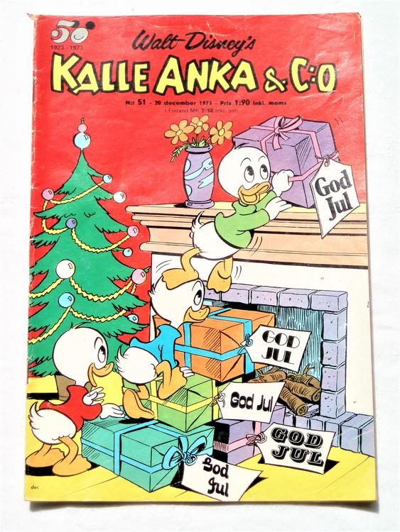 Kalle Anka&Co nr 51 1973 bra skick,adressetikett baksida,rygg lite sliten.