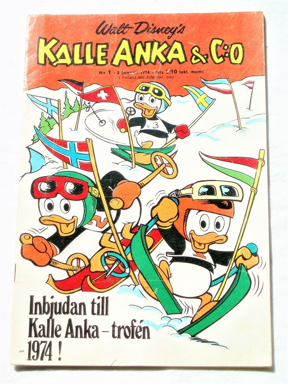 Kalle Anka&Co nr1 1974 bra skick,adressetikett baksida rygg mer sliten.