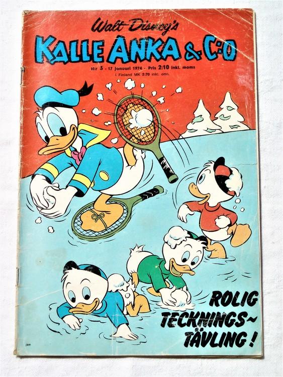 Kalle Anka&Co nr3 1974 bra skick,adressetikett baksida rygg mer sliten.