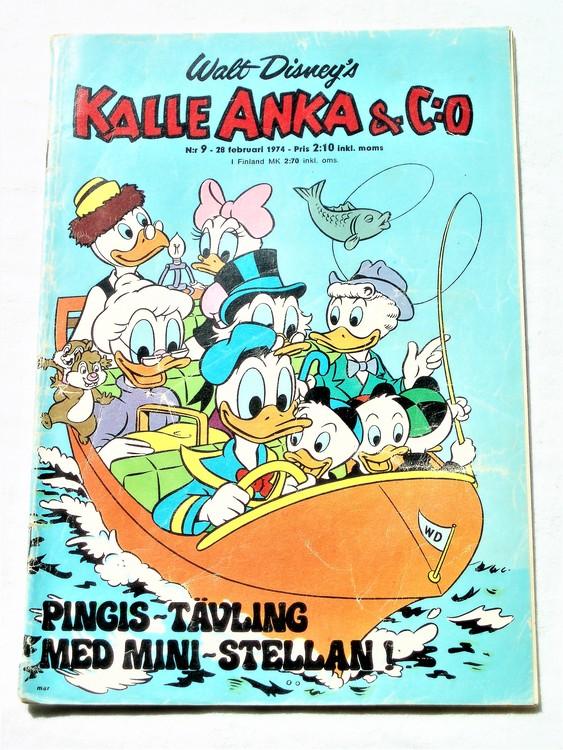 Kalle Anka&Co nr9 1974 bra skick,adressetikett baksida rygg mer sliten.