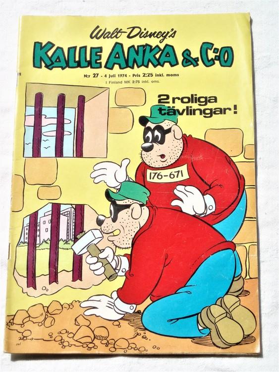 Kalle Anka&Co nr27 1974 bra skick,adressetikett baksida