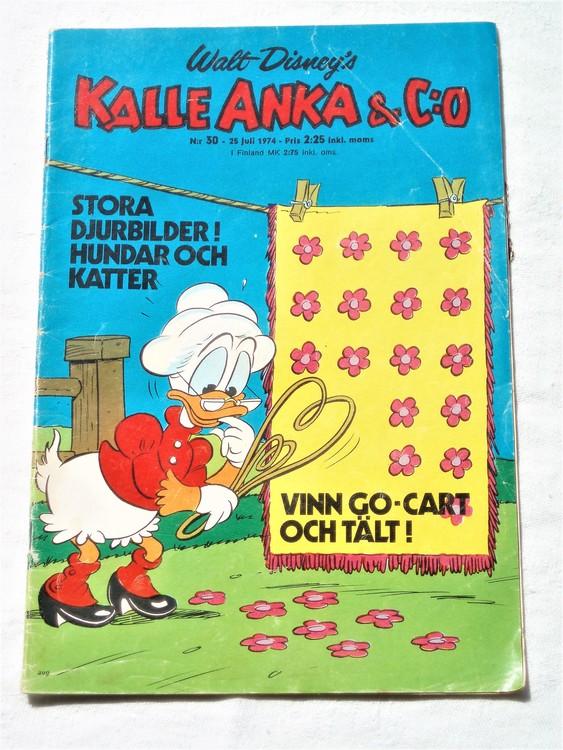 Kalle Anka&Co nr30 1974 bra skick,adressetikett baksida,rygg mer sliten.