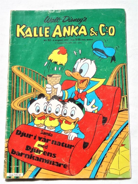 Kalle Anka&Co nr32 1974 bra skick,adressetikett baksida,rygg mer sliten.