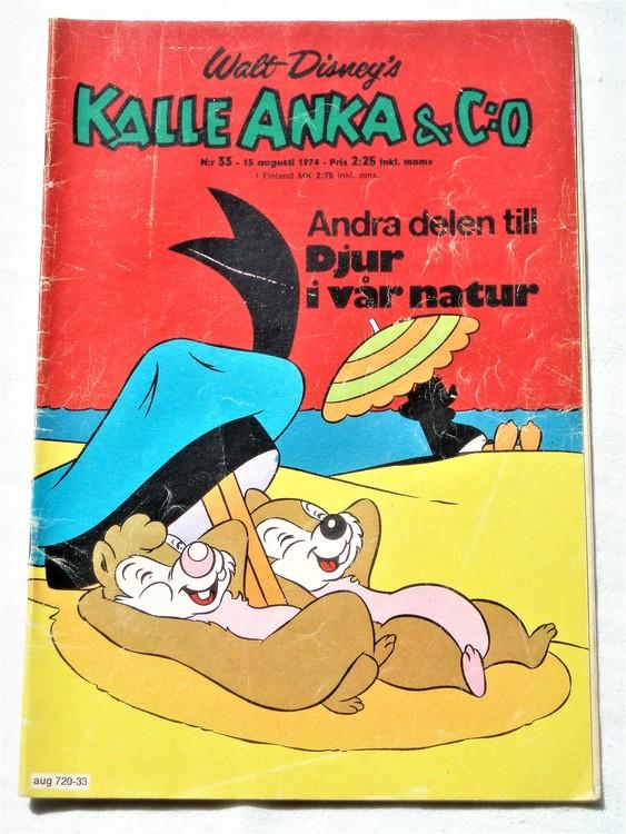 Kalle Anka&Co nr33 1974 bra skick,adressetikett baksida,rygg mer sliten.