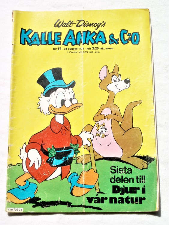 Kalle Anka&Co nr34 1974 bra skick,adressetikett baksida,rygg mer sliten.
