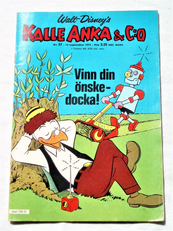 Kalle Anka&Co nr37 1974 bra skick,adressetikett baksida,rygg mer sliten.