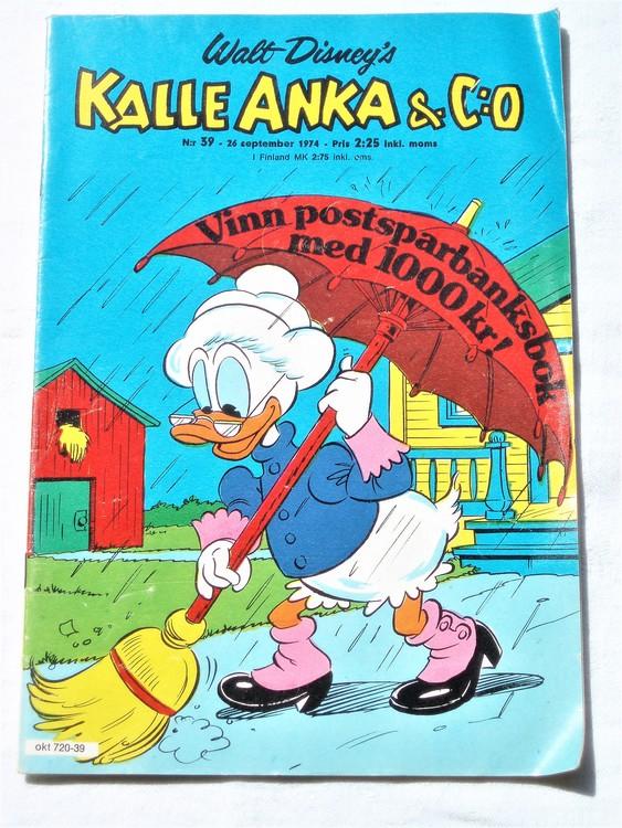 Kalle Anka&Co nr39 1974 bra skick,adressetikett baksida.