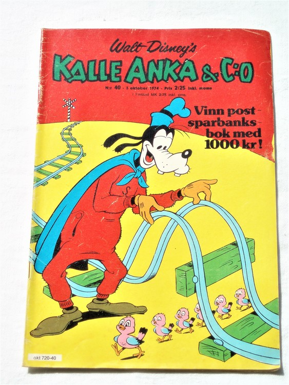 Kalle Anka&Co nr40 1974 bra skick.