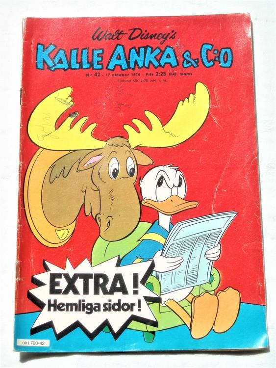 Kalle Anka&Co nr42 1974 bra skick,adressetikett baksida mer sliten än vanligt