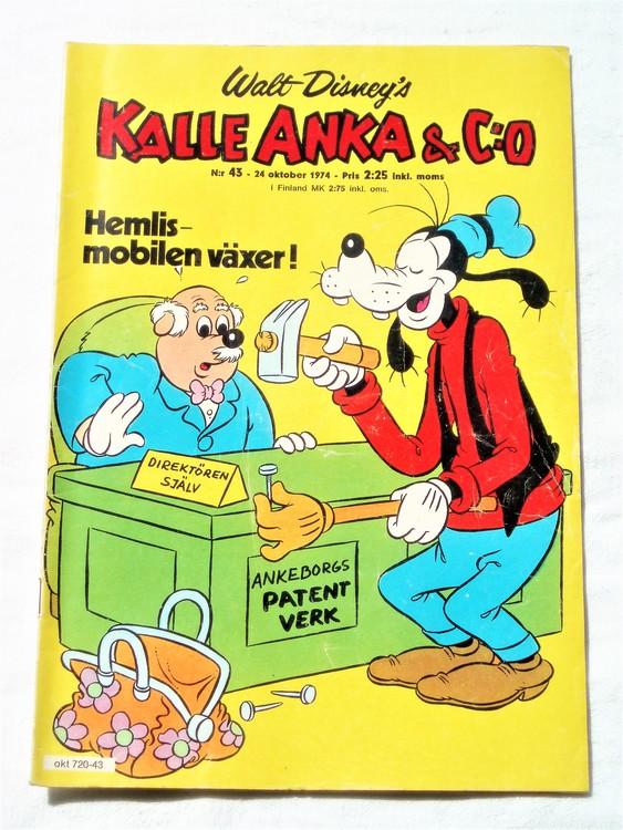 Kalle Anka&Co nr43 1974 bra skick,adressetikett baksida mer sliten än vanligt