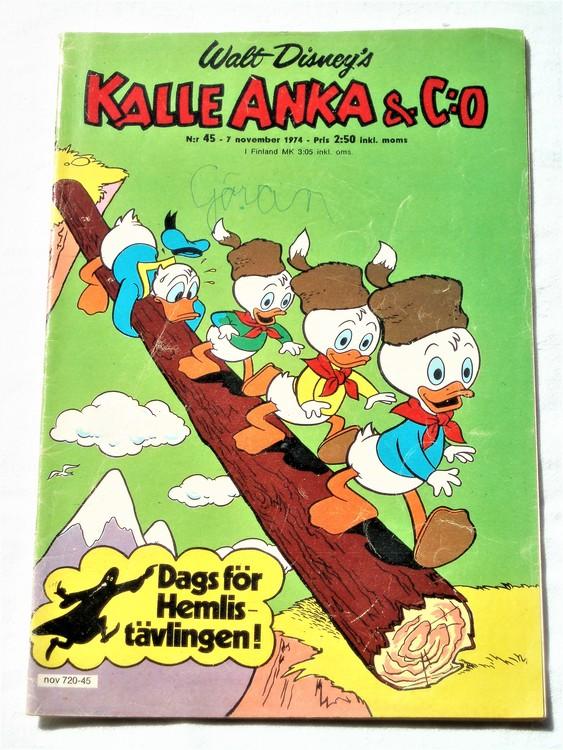 Kalle Anka&Co nr45 1974 bra skick,adressetikett baksida mer sliten än vanligt