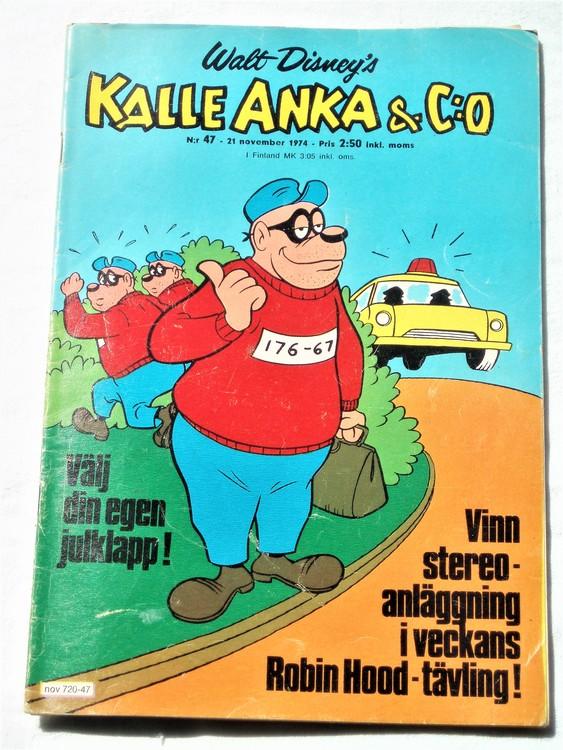 Kalle Anka&Co nr47 1974 bra skick,adressetikett baksida mer sliten än vanligt