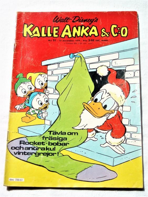 Kalle Anka&Co nr51 1974 bra skick,adressetikett baksida mer sliten än vanligt