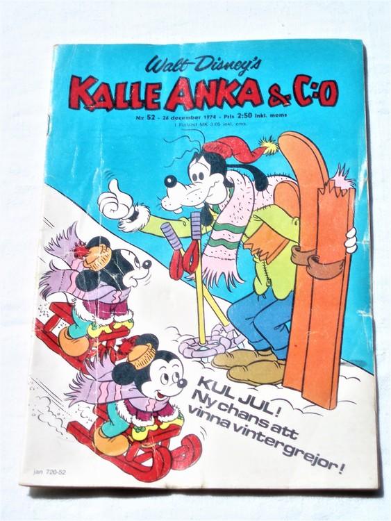 Kalle Anka&Co nr52 1974 bra skick,adressetikett baksida