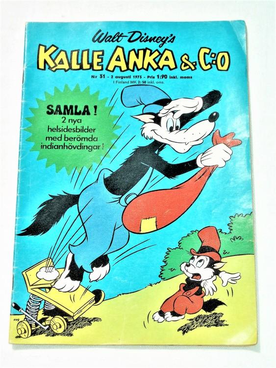 Kalle Anka&Co nr31 1973 bra skick,adressetikett baksida,rygg lite sliten.